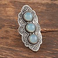 Chalcedony cocktail ring, 'Goddess Trio' - Oxidized Sterling Silver Chalcedony Cocktail Ring