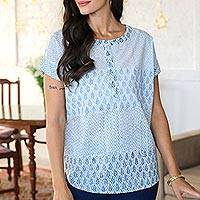 Cotton block-printed tunic, 'Summer Dreams' - White Cotton Block Printed Top with Black and Blue Accents