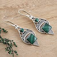 Malachite dangle earrings, 'Green Ocean' - Malachite Cabochon and Sterling Silver Dangle Earrings