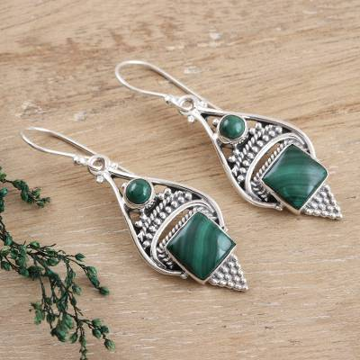Malachite dangle earrings, Green Ocean