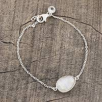 Rainbow moonstone pendant bracelet, 'Misty Cloud' - Rainbow Moonstone and Blue Topaz Bracelet