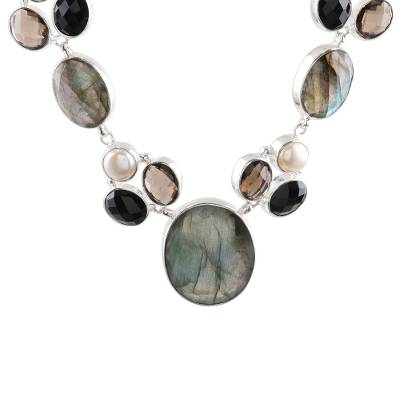 Multi-gemstone pendant necklace, 'Dusky Appeal' - Multi Gemstone and Sterling Silver Pendant Necklace