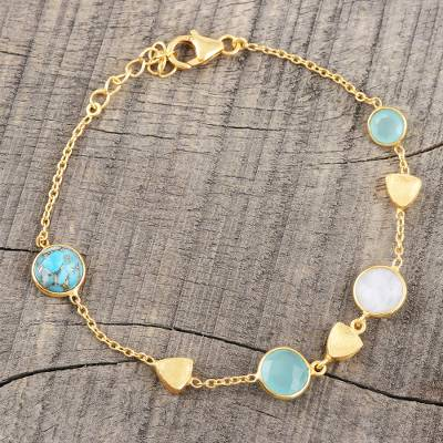 Gold plated multi-gemstone station bracelet, 'Golden Glamour' - 18k Gold Plated Multi Gemstone Station Bracelet