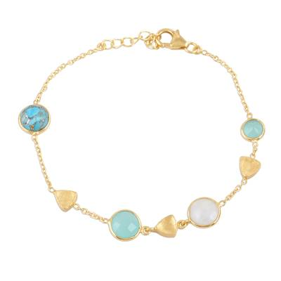 Gold plated multi-gemstone station bracelet, 'Golden Glamour' - 18k Gold Plated Multi Gemstone Station Bracelet