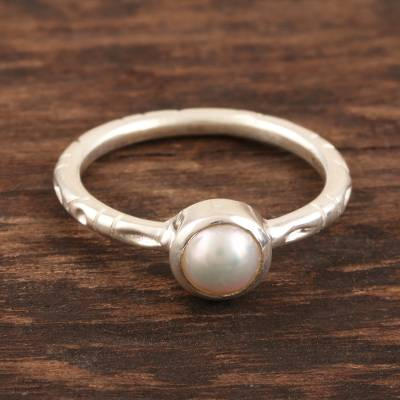 Cultured pearl solitaire ring, 'Delicate Nature' - Cultured Pearl Solitaire Ring from India