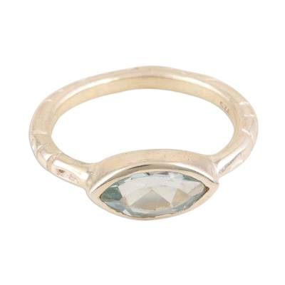 Blue topaz single-stone ring, 'Delicate Eye' - Marquise Cut Blue Topaz Ring from India