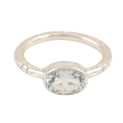 Blue topaz single-stone ring, 'Blue Gaze' - Simple Blue Topaz and Sterling Silver Ring