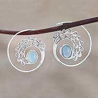 Chalcedony drop earrings, 'Eye of the Peacock' - Spiral Drop Earrings with Blue Chalcedony