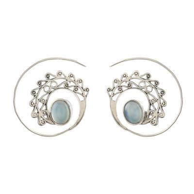 Chalcedony drop earrings, 'Eye of the Peacock' - Spiral Drop Earrings with Blue Chalcedony
