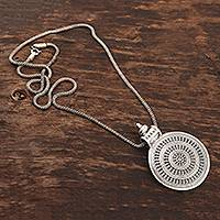 Sterling silver pendant necklace, 'Bold Medallion' - Sterling Silver Medallion Pendant Necklace