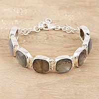 Labradorite link bracelet, 'Dazzling Allure' - Square Faceted Labradorite Bracelet Set in Sterling Silver