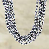 Cultured pearl torsade necklace, 'Pure Bliss' - Nine-Strand Cultured Grey Pearl Torsade Necklace