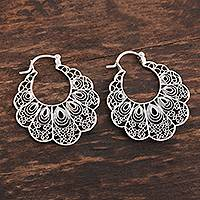 Sterling silver filigree hoop earrings, 'Sweet Frills' - Lacy Filigree Sterling Silver Hoop Earrings
