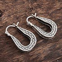 Sterling silver filigree hoop earrings, 'Horseshoe Bend' - Horseshoe Shaped Filigree Sterling Silver Hoop Earrings