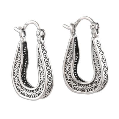 Sterling silver filigree hoop earrings, 'Horseshoe Bend' - Horseshoe Shaped Filigree Sterling Silver Hoop Earrings