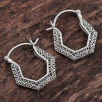 Sterling silver filigree hoop earrings, 'Wired' - Polygonal Hoop Earrings in Sterling Silver Filigree