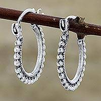 Sterling silver hoop earrings, 'Brightly Shining' - Beaded Sterling Silver Hoops from India