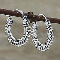 Sterling silver hoop earrings, 'Bright Rays' - Handmade Sterling Silver Hoop Earrings
