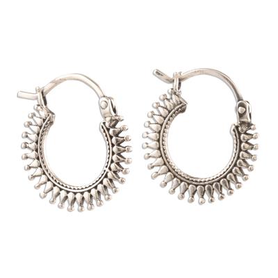 Sterling silver hoop earrings, 'Bright Rays' - Handmade Sterling Silver Hoop Earrings