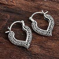 Sterling silver filigree hoop earrings, 'Heart Glory' - Artisan Crafted Silver Filigree Heart Hoop Earrings