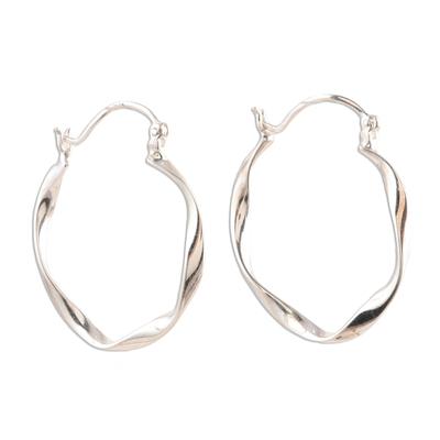 Sterling silver hoop earrings, 'Sleek Ribbon' - Unique Sterling Silver Twisted Hoop Earrings