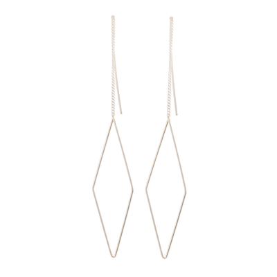 Diamond Shaped Sterling Silver Threader Earrings