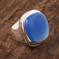 Men's chalcedony ring, 'Bluest Sky' - Bezel Set Blue Chalcedony Men's Ring