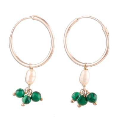 Cultured Pearl and Malachite Endless Hoop Earrings