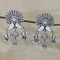Sterling silver chandelier earrings, 'Jag Mandir Grandeur' - Ornate Sterling Silver Chandelier Earrings from Jaipur