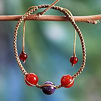 Carnelian beaded macrame bracelet, 'Peaceful Romance' - Macrame Bracelet with Carnelian and Purple Quartz