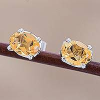 Citrine stud earrings, 'Scintillate' - Citrine Birthstone Stud Earrings from India