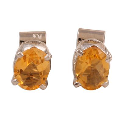 Citrine Birthstone Stud Earrings from India