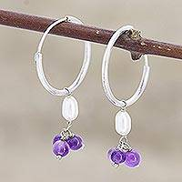 Cultured pearl and amethyst hoop earrings, 'Pure Delight in Purple' - Amethyst and Cultured Pearl Endless Hoop Earrings