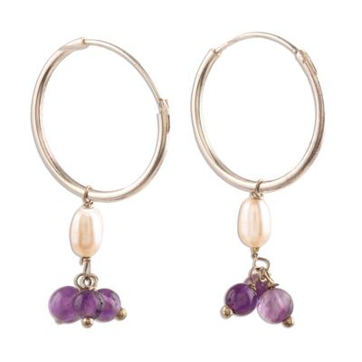 Amethyst and Cultured Pearl Endless Hoop Earrings