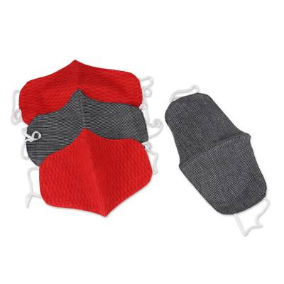 Cotton face masks, 'Bold Style' (set of 4) - 2 Red/2 Black Pinstripe Contoured Cotton Personal Face Masks