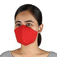 Cotton face masks, 'Trendy Red' (set of 3) - 3 Red Cotton Brocade Contoured Personal Face Masks