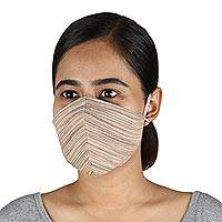 Cotton face masks, 'Business Style' (set of 3) - 3 Brown and Beige Cotton Contoured Personal Face Masks