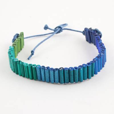 Recycled paper unity bracelet, 'Blue and Green for Strength' - Indian Blue to Green Recycled Paper Handmade Unity Bracelet