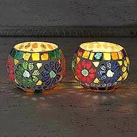 Glass mosaic tealight holders, 'Floral Illumination' (pair) - Pair of Colorful Round Mosaic Tealight Candleholders