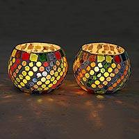 Glass mosaic tealight candleholders, 'Festive Rainbow' (pair) - Glass Mosaic Tealight Candleholders (Pair)