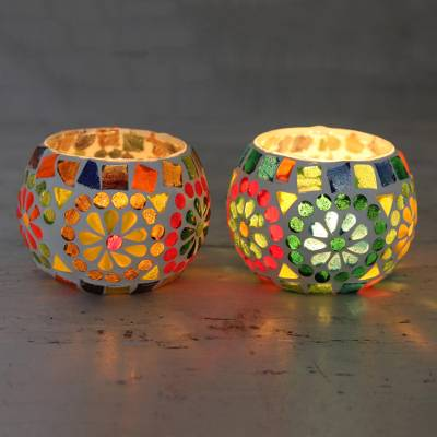 Glass mosaic tealight candleholders, 'Rainbow Cheer' (pair) - Cheerful Multicolored Glass Mosaic Tealight Holders (Pair)