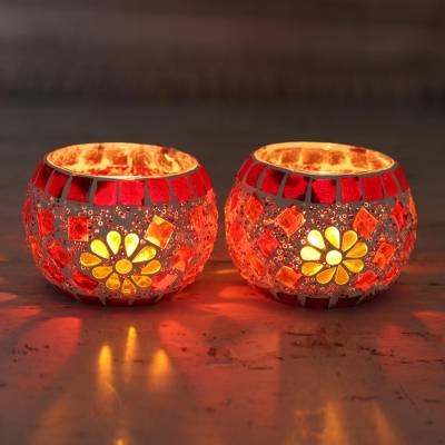Glass mosaic tealight candleholders, 'Firelight' (pair) - Handmade Glass Mosaic Tealight Candleholders (Pair)