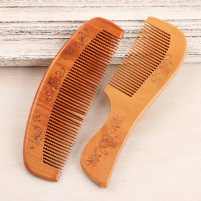 Wood comb set, 'Floral Charm' (pair) - Hand Crafted Floral Wood Combs (Pair)