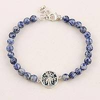 Sodalite beaded pendant bracelet, 'The Banyan' - India Sodalite and Silver 925 Unity Bracelet with Teakwood