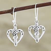 Sterling silver dangle earrings, 'Romantic Love' - Romantic Sterling Silver Heart Earrings from India