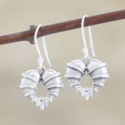 Sterling silver dangle earrings, 'Uncage My Heart' - Bound Hearts Sterling Silver Dangle Earrings