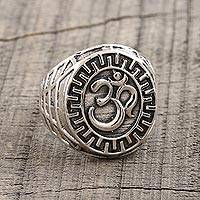 Men's sterling silver signet ring, 'Glorious Om' - Men's Om Symbol Sterling Silver Ring