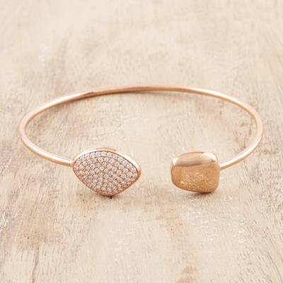 Rose gold plated cuff bracelet, 'Rosy Elegance' - Cubic Zirconia Accented Rose Gold Plated Cuff Bracelet