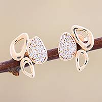 Gold plated button earrings, 'Modern Marvel' - Cubic Zirconia and Gold Plated Silver Button Earrings