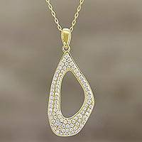 Gold plated pendant necklace, 'Golden Contour' - Modern CZ and 22k Gold Plated Silver Necklace